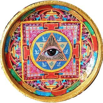 """Декоративная тарелка диаметром 42 см """"Great Sign""""  шамотной трипольской глины"""