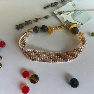 Браслет  из бисера, плетенный браслет