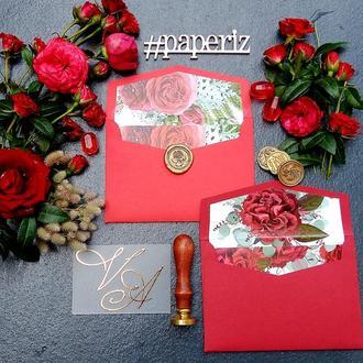 """Конверты с цветочными композициями """"Marsala"""" и """"Red Ostin's Roses"""""""