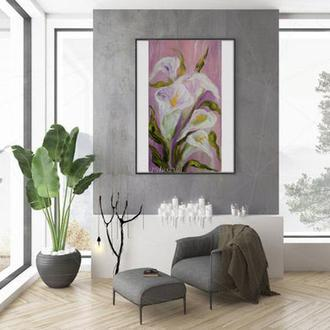Картина в спальню, картина маслом квіти