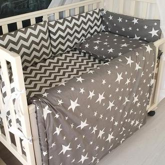 Комплект в кроватку Stars & Chevron on grey