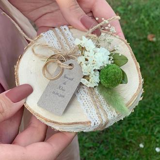 Свадебная шкатулка для колец. Подставка для колец в стиле Рустик