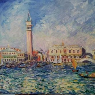 Венеция (Копия фрагмента картины Ренуара) 45/45 см 2016  Масло Хлопок на подрамнике Дамарный лак