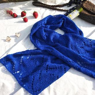 Ажурный палантин шарф вязаный спицами