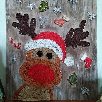 Картина *Christmas Deer* в стиле стринг-арт