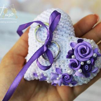 Свадебная подставка/подушечка для колец в виде сердца ручная лепка и вязка