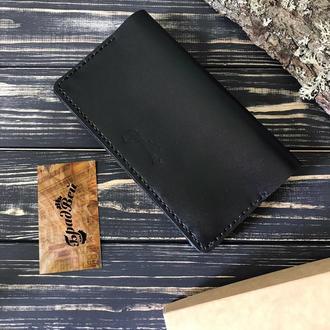 Клатч - кошелёк большой из натуральной кожи чёрный