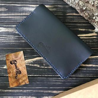 Клатч - кошелёк большой из натуральной кожи синий
