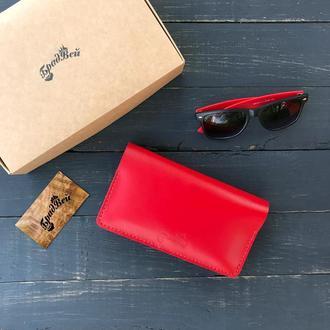 Клатч - кошелёк большой из натуральной кожи красный