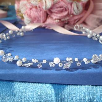 Свадебное украшение для волос, гребешок в прическу, венки для невесты, веточка из бусин, ободок