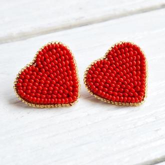Сережки сердечки, Сережки червоні, Вишиті сережки, Сережки цвяшки