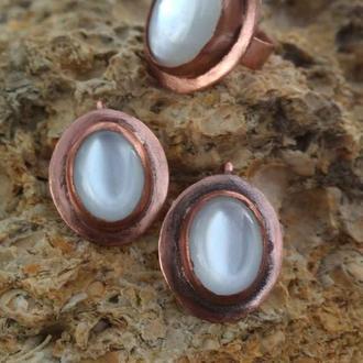 Комплект; серьги и кольцо из меди
