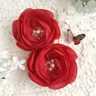 Резинки для волос, цветочные резинки, пара резинок, подарок девочке