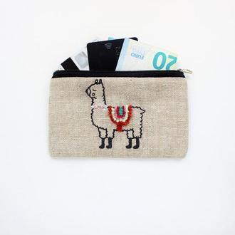 """Льняной кошелек для мелочи с вышивкой и рисунком """"Лама"""""""