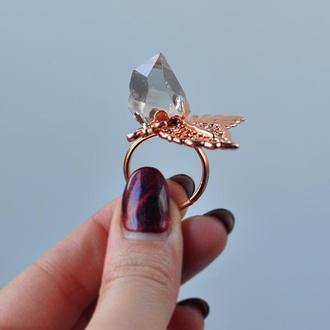 Кольцо с херкимерским алмазом (кварц)