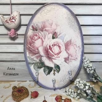 Ключница- панно « Розовые розы»