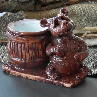 Солонка Медведь керамическая