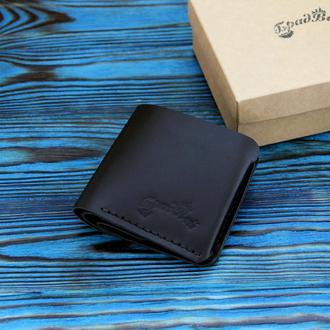 Кожаный кошелёк с отделением для мелочи черный