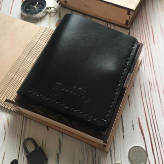 Портмоне с прозрачными отделениями и карманом для мелочи чёрное