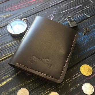 Портмоне с прозрачными отделениями и карманом для мелочи шоколадное