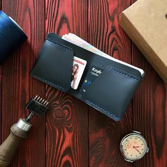 Компактный кожаный кошелёк синий