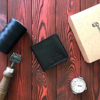 Компактный кожаный кошелёк чёрный