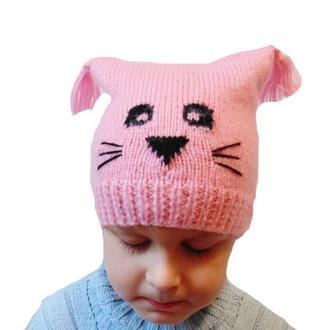 Вязанная зимняя шапка для девочки Кошка