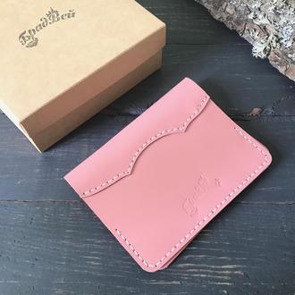 Обложка для паспорта из натуральной кожи розовая