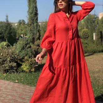Красное льняное платье со стойкой