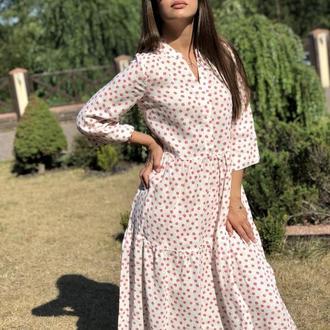 Платье из льна Армани со скрытыми пуговицами