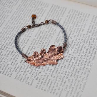 Простой минималистичный браслет з настоящим дубовым листом