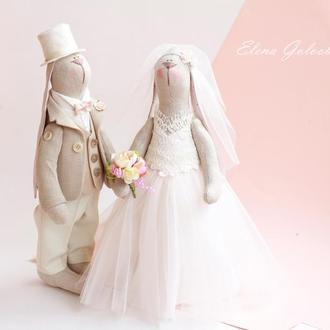 """Свадебная пара зайчиков """"Розовые облака"""""""