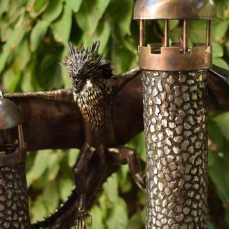 скульптура дракона Дрогона из нержавеющей стали ручной работы