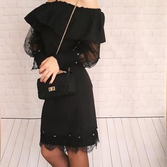 Черное красивое платье. Кружевное платье ручной работы