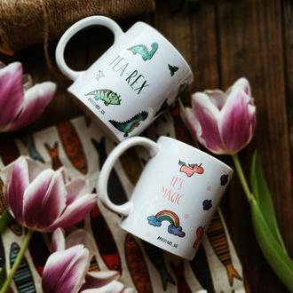 "керамічна чашка з авторським дизайном ""динозаври"""