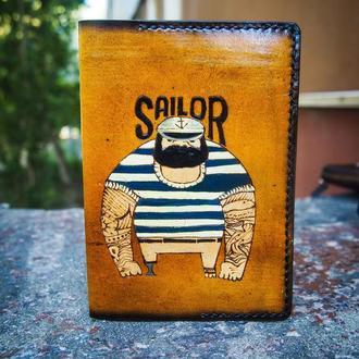 Обложка для паспорта матрос, морская кожаная обложка, подарок моряку