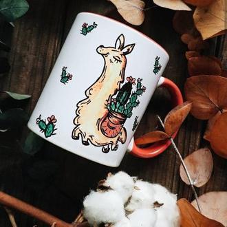 """керамическая чашка с  дизайном """"лама"""""""
