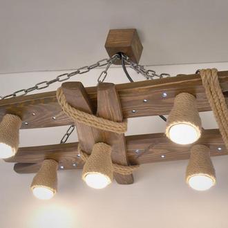 Люстра из дерева с ночником и плафонами из каната