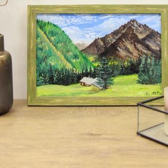 """Картина маслом """"Домик в Альпах"""", Горный пейзаж, Красивая природа, Масляная живопись"""