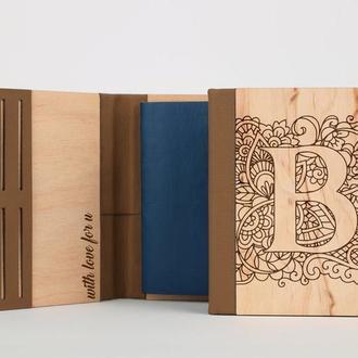 Деревянная обложка на паспорт с гравировкой, и вставками из экокожи, принимаем индивидуальные заказы