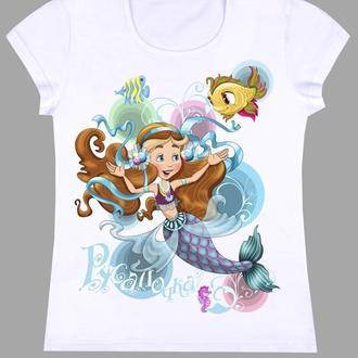 """Детская футболка для девочки 7-8лет с принтом """"Русалочка"""""""