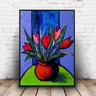 Цветы на столе (картина масло/оргалит) 50х40 см