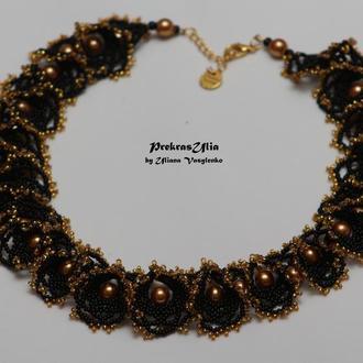 Огалала чорна з золотими перлинами