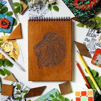 Блокнот Лев 1, деревянный блокнот Лев 1, с деревянной обложкой