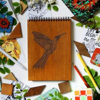 Блокнот Колібрі, деревянный блокнот Колибри, с деревянной обложкой