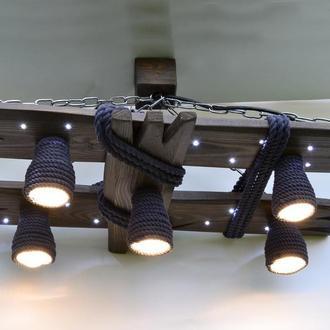 Деревянная люстра с светодиодными точками и плафонами из хлопкового каната