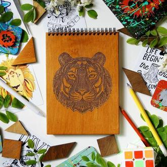 Блокнот Тигр, деревянный блокнот Тигр, с деревянной обложкой