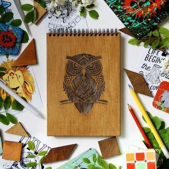 Блокнот Сова 1, деревянный блокнот Сова 1, с деревянной обложкой