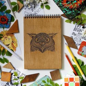 Блокнот Сова 2, деревянный блокнот Сова 2, с деревянной обложкой