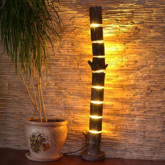 Деревянный торшер, напольный светильник из натурального бревна